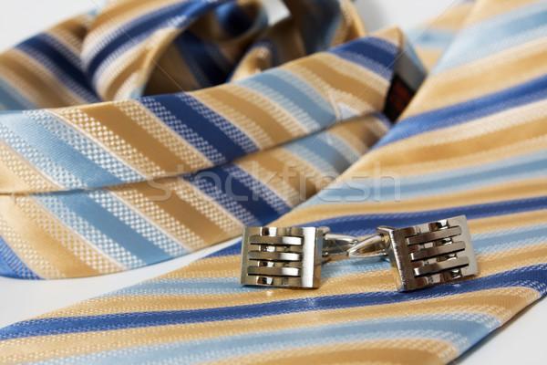 Stock photo: Tie, belt and cufflinks