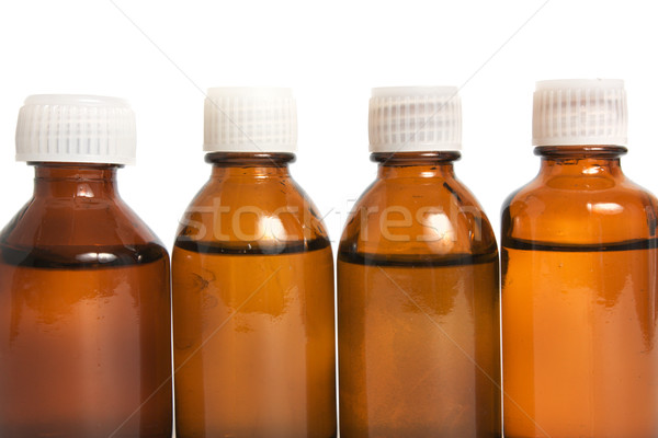 棕色 玻璃 液體 藥物 孤立 白 商業照片 © restyler