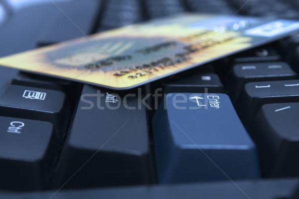 Stockfoto: Creditcard · sleutel · computer · internet