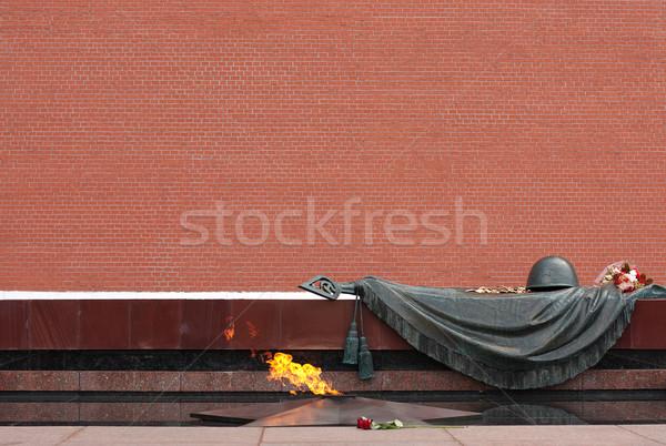 Moscou chama túmulo desconhecido soldado flor Foto stock © restyler