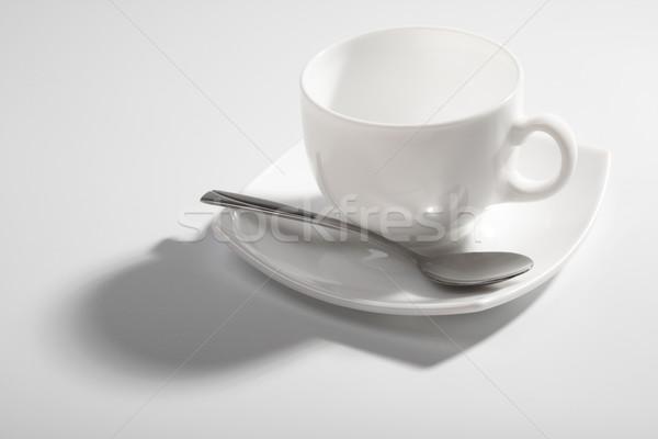 üres kávéscsésze szürke teáskanál árnyék ital Stock fotó © restyler