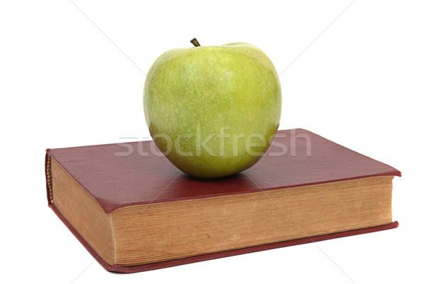 Régi könyv zöld alma öreg barna könyv Stock fotó © restyler