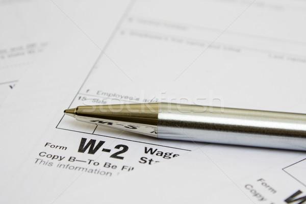 Podatku formularza działalności metal pióro biuro Zdjęcia stock © restyler