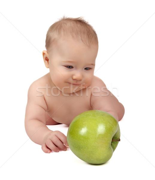 Küçük çocuk elma beyaz yüz gözler Stok fotoğraf © restyler