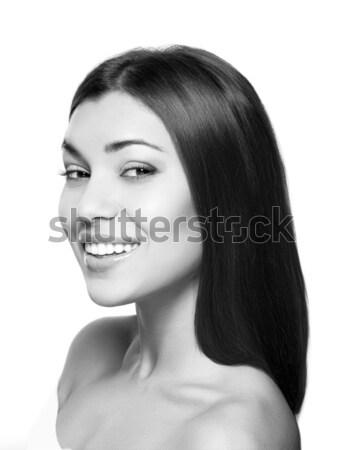 Belle femme sourire blanchiment des dents soins dentaires oeil visage Photo stock © restyler