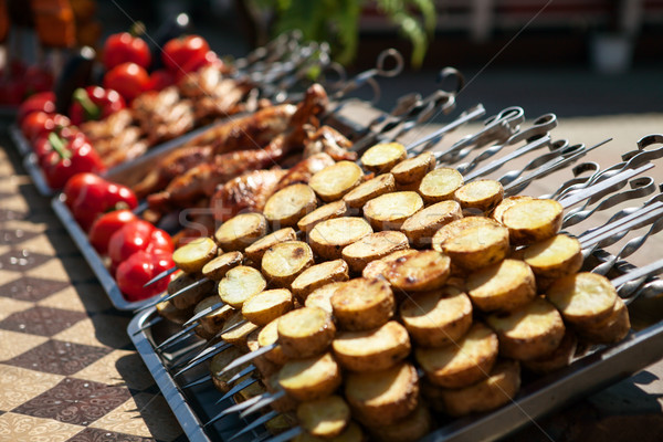 street vendor tray with vegetable and meat kebab Stock photo © restyler