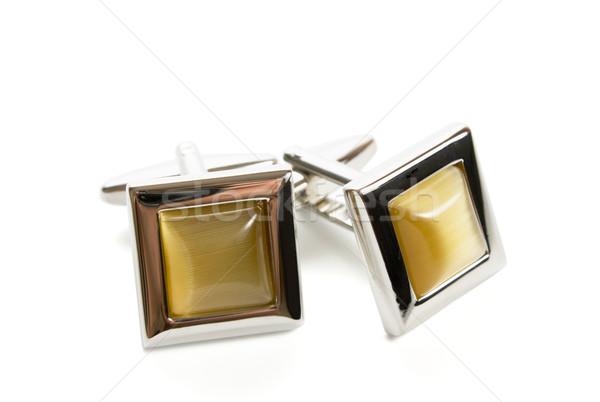 Mandzsettagombok pár rozsdamentes acél fehér fekete acél Stock fotó © restyler