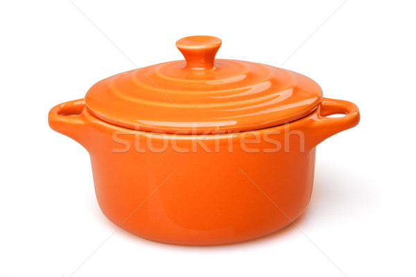 オレンジ 皿 ポット 孤立した 白 背景 ストックフォト © restyler