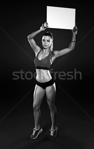 小さな 女性 フィットネス 暗い ストックフォト © restyler