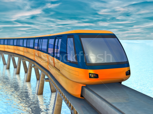 Monorail train futuriste mer ciel eau Photo stock © reticent