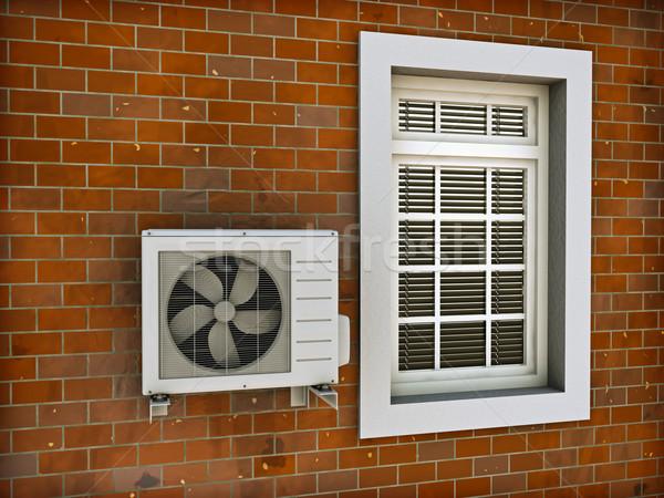 Klima klima ısı pompa tuğla duvar 3d render Stok fotoğraf © reticent
