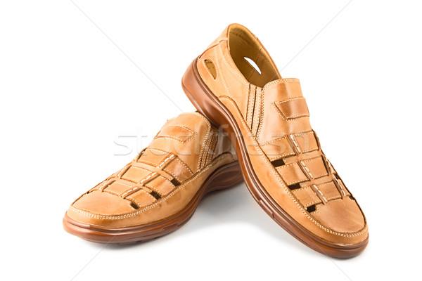 Cuir chaussures été blanche mode chaussures Photo stock © reticent