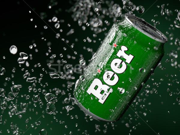 Bière peuvent 3d illustration peu profond métal rouge Photo stock © reticent
