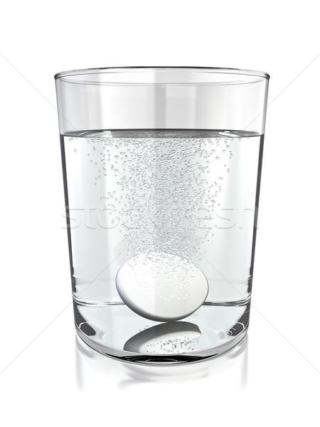 Gyógyszer tabletta üveg víz 3D renderelt Stock fotó © reticent