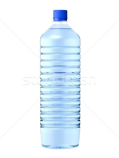 Woda mineralna odizolowany plastikowe butelki 3d ilustracji niebieski Zdjęcia stock © reticent