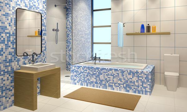 Salle de bain 3d illustration modernes intérieur maison maison Photo stock © reticent