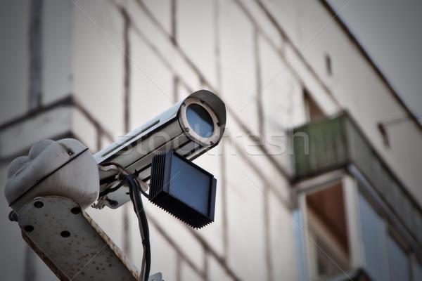 Caméra mur sécurité urbaine sécurité Photo stock © reticent