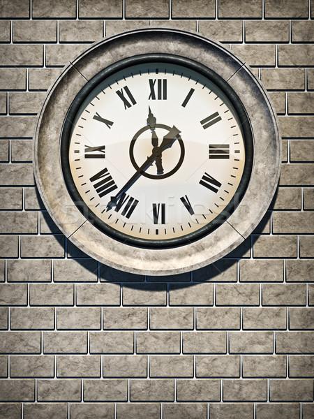 Relógio ilustração 3d antigo parede de tijolos Foto stock © reticent