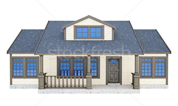 Faible maison 3d illustration isolé blanche bâtiment Photo stock © reticent