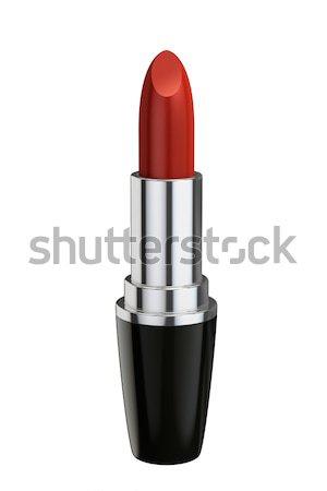 Batom vermelho isolado branco 3D prestados beleza Foto stock © reticent