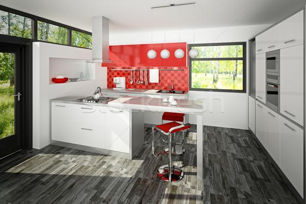 Cozinha ilustração 3d moderno interior da cozinha casa tabela Foto stock © reticent