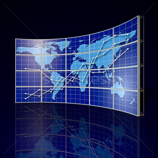 Videofal világtérkép absztrakt grafikon technológia Föld Stock fotó © reticent