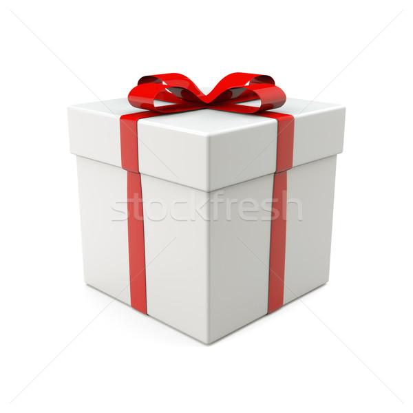 Bianco scatola regalo rendering 3d finestra vita Natale Foto d'archivio © reticent