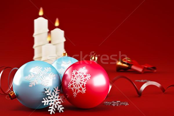 Natale decorazione candele rosso sfondo Foto d'archivio © reticent