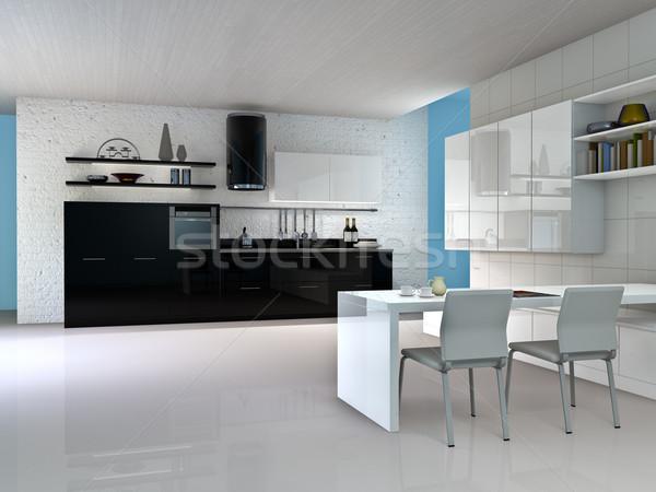 Cuisine intérieur de cuisine design maison table pierre Photo stock © reticent