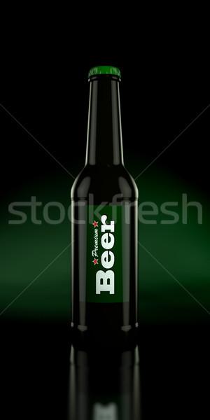 Bouteille bière 3d illustration boire liquide froid Photo stock © reticent