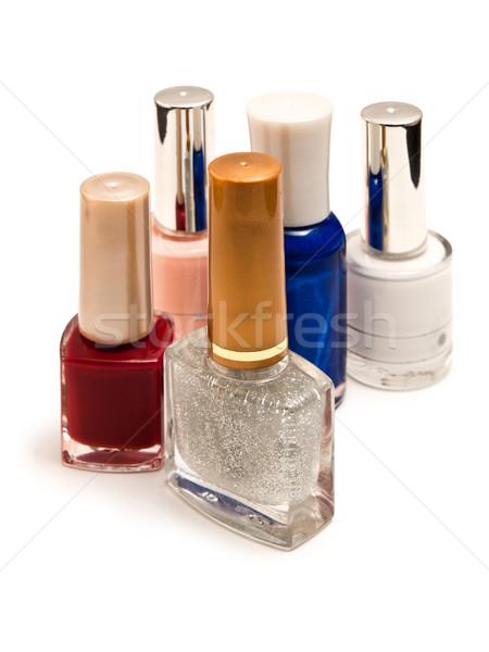 Unha polonês garrafas branco moda vidro azul Foto stock © reticent