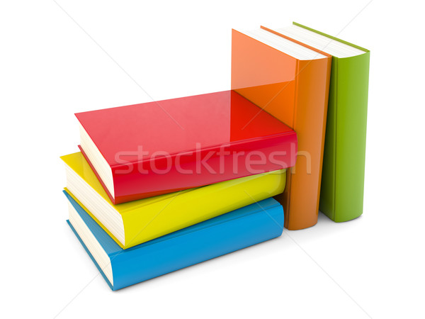 Couleur livres 3d illustration blanche papier éducation Photo stock © reticent