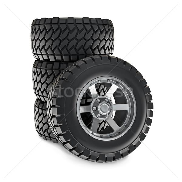 Roues 3d illustration métal acier pneu Photo stock © reticent