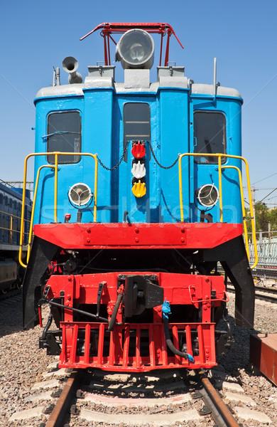 старые поезд локомотив станция синий стали Сток-фото © reticent