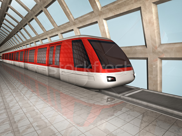 Monorail train 3d illustration gare Voyage urbaine Photo stock © reticent