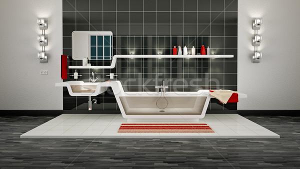Moderno banheiro ilustração 3d interior casa vidro Foto stock © reticent
