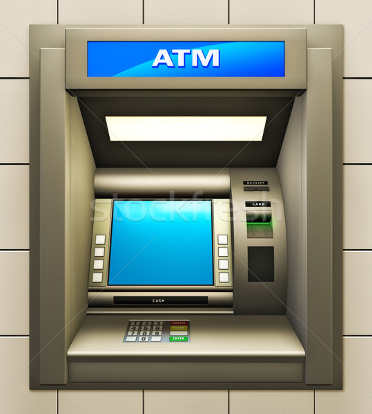 Atm illustratie cash machine business metaal Stockfoto © reticent