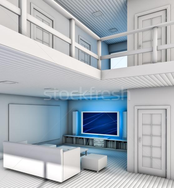 Salon modernes intérieur maison télévision design Photo stock © reticent