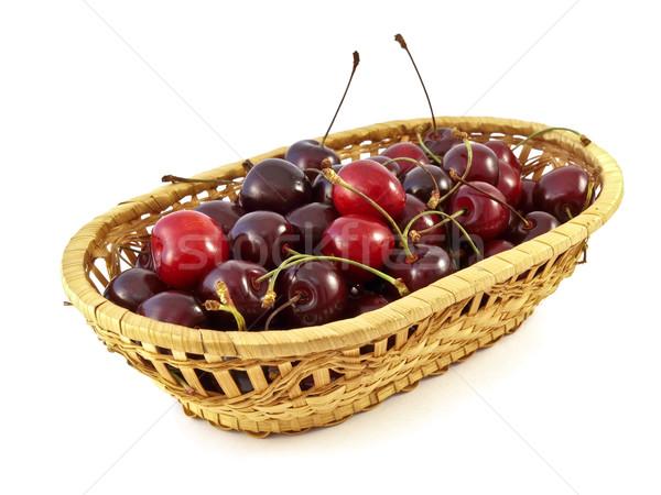Basket ciliegie dolce bianco alimentare mangiare Foto d'archivio © reticent