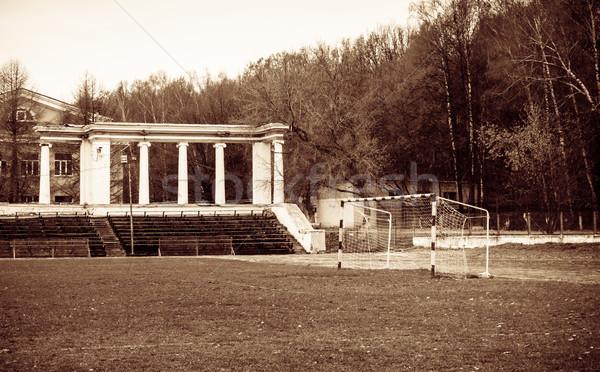Estádio futebol meta velho grama futebol Foto stock © reticent