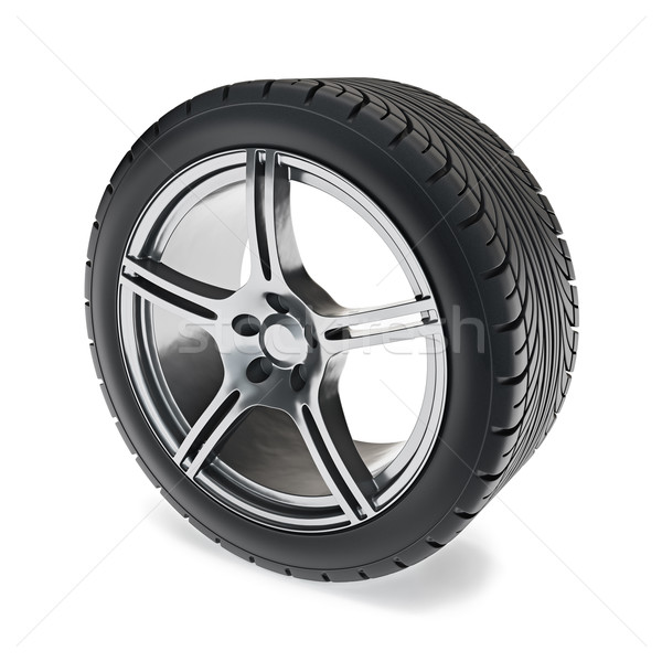 Carro roda ilustração 3d aço pneu círculo Foto stock © reticent