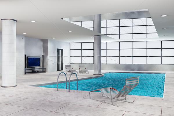 Piscina ilustração 3d moderno água casa Foto stock © reticent