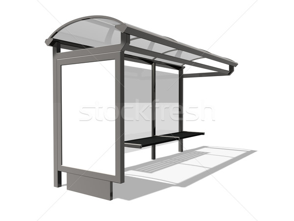 Fermata dell'autobus illustrazione 3d bianco vetro viaggio marketing Foto d'archivio © reticent