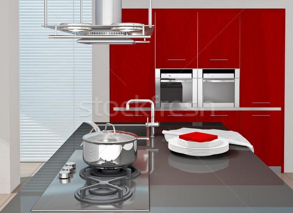 Cucina moderno interno cucina 3D reso Foto d'archivio © reticent