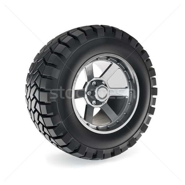 Roda ilustração 3d tecnologia metal aço pneu Foto stock © reticent