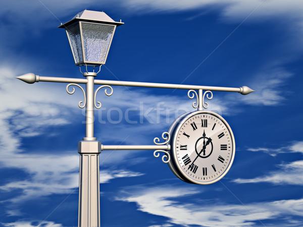 Velho relógio ilustração 3d antigo céu blue sky Foto stock © reticent