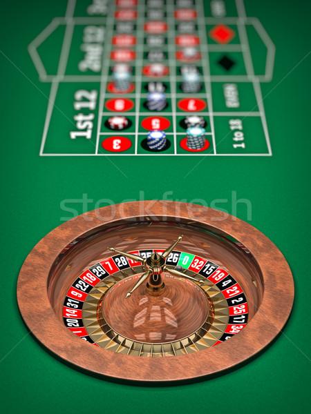 Rulett illusztráció kaszinó rulettkerék 3D renderelt Stock fotó © reticent