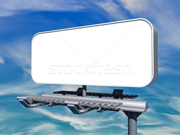 Billboard 3d illustration vide bleu nuageux ciel Photo stock © reticent