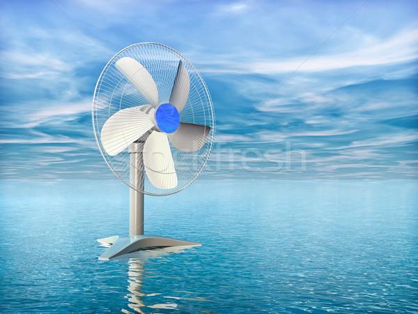 Elektryczne fan morza Błękitne niebo wody panoramę Zdjęcia stock © reticent