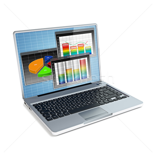 Laptop with business bar graph Stock photo © reticent